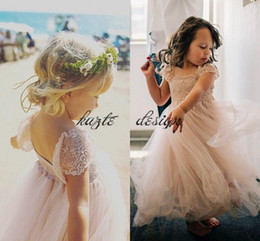 b613bab0a 2018 Cap Sleeve Flower Girl Dress French Lace and Silk Tulle Dress for Baby  Girl Blush Princess Infant Birtday Communion Dress