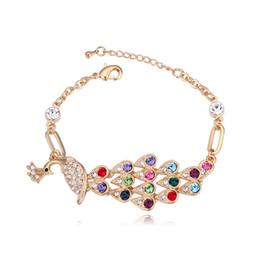 champagne swarovski crystals 2019 - Fashion Peacock Shape Design Jewelery for Women Champagne Gold Plated Italian Charm Bracelet Brands Made with Swarovski