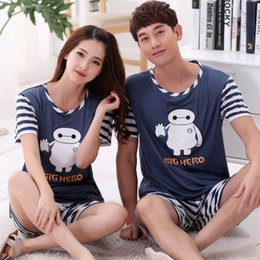 7171176f41 Short-sleeved Summer Pyjama Loose Men Style Couple Pijama Set Sleepwear  Top+ Pants Young Lovers Pajamas Sets Women Nightwear