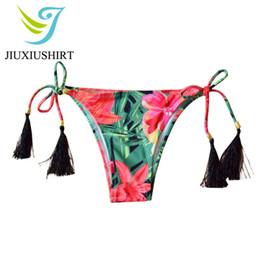 26d60fd22a550 Sexy Thong Bikini Swimwear Women Bottom Adjustable Briefs Swimsuit Panties  Underwear Bathing Suit Tassel Brazilian Bikini bottom
