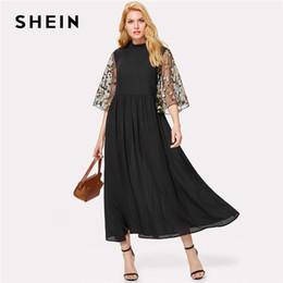 b6ef104cdcff SHEIN Embroidery Mesh Flare Sleeve Dress Black Stand Collar Half Sleeve High  Waist Loose Maxi Dress Women Elegant Party Dress