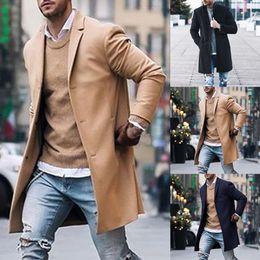 Suit Trench Canada - INCERUN Men Coat Parkas Long Sleeve Business Suit Jacket Outerwear Men Casual Fashion Long Trench Coat Winter 2018 Plus Size 5XL