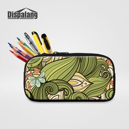 small pens UK - Dispalang Abstract Flower Women Travel Cosmetic Case Kids Small Pencil Box Girls Canvas Ziper Pen Box Bag School Office Supplies