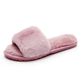 Winter Womens Open Toe Fur Plush Slippers Furry Flip Flops Indoor Outdoor  Fashion Girls Footwear Slide Flat Slipper c4c4447abefb