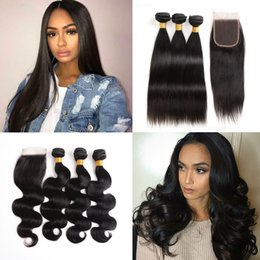 peruvian body wave hair bundles closure Australia - 8A Brazilian Straight Body Wave Bundles with Closure Peruvian Human Hair Weave Bundles with 4X4 Lace Closure Natural Color Hair Extensions