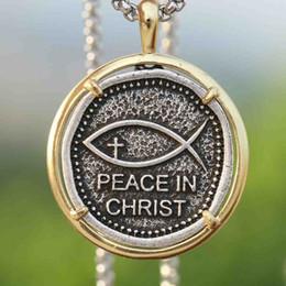 faith hope love pendants 2019 - Christian Necklace Mens Peace in Christ Pendant Fashion Faith Hope Love Cross Religion Jewelry cheap faith hope love pen