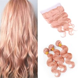 $enCountryForm.capitalKeyWord NZ - Malaysian Rose Gold Human Hair Bundles with Frontal Closure Pink Body Wave Wavy Virgin Hair Weaves with Full Lace Frontal