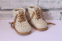 "Crocheted Baby Boy Booties Canada - Crochet baby booties, Baby Boys Booty ""Combat"" Boots, Beige Crochet Baby Booties, street shoes, Size 0-12 months"