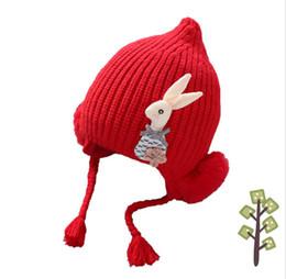 Wig Grey Australia - Winter Child Hat Girl Baby Hats With Pom Pom Rabbit Ribbed Knit Beanies Cotton Inner 2018 Kids Braid Wigs Skullies Bonnet MZ7035