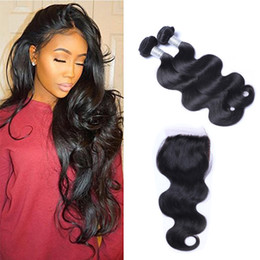 Free Fedex shipping online shopping - Brazilian Bodywave Hair Bundles with Closure Free Middle Part Double Weft Human Hair Extensions Dyeable Human Hair Weave FEDEX Shipping