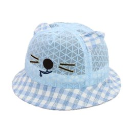 b4f867a0c7b Cat Plaid Mesh Fisherman Caps Panama Outdoor Sun Protection M5970 Unisex  Dome Bucket Hats Boys Girls Kids Summer Baby Cap Hat