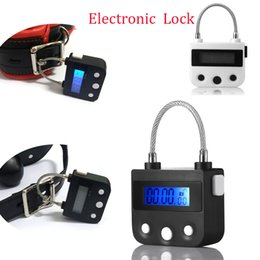 Restraints Locks Australia - Electronic Bondage Restraint Lock BDSM Fetish Handcuffs Mouth Gag Chastity Device Rechargeable Timing Switch Sex Toys For Couple