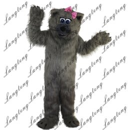Fancy Grey Dresses NZ - 2018 New high quality Grey cat Mascot costumes for adults circus christmas Halloween Outfit Fancy Dress Suit Free Shipping023