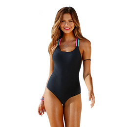 a96b3302a5b 2018 Sexy Halter One Piece Swimsuit Solid Black Backless Monokini Beach  Wear Bathing Suits