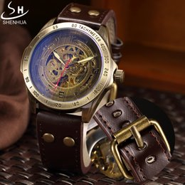 $enCountryForm.capitalKeyWord Australia - masculino Mechanical Men SHENHUA Retro Bronze Sport Luxury Top Brand Leather Watch Skeleton Automatic Watches Relogio Masculino