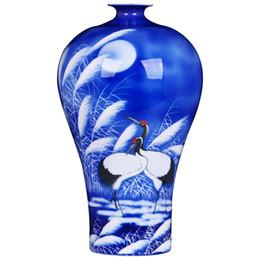 Paintings Vases UK - Jingdezhen Master Hand Painted Blue Porcelain Vase Red-crowned crane Pattern Home Office Decoration Flower Vase