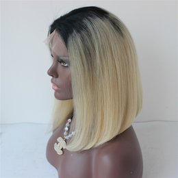 $enCountryForm.capitalKeyWord Australia - 1B Blonde Full Lace Human Hair Wigs Dark Roots 1B 613 Lace Front Wig Two Tone Bob Wig For Black Women