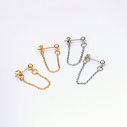 Alloy jAcket online shopping - Lwong mm Gold Color Ball Chain Ear Jacket Earrings For Women Minimalist Ear Cuff Earrings Simple Thin Chain Wrap Earrings Gifts Pairs