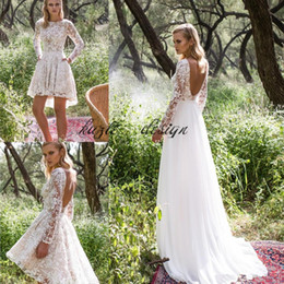 488a924bb2 Limor Rosen 2018 Long Sleeve Country Wedding Dresses with Detachable Train  Modest Backless Two in One Short Bohemian Beach Wedding Gown