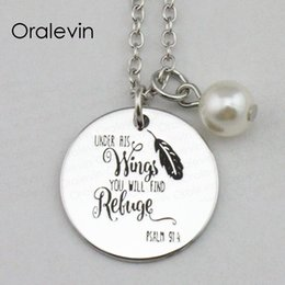 $enCountryForm.capitalKeyWord Australia - UNDER HIS WINGS YOU WILL FIND REFUGE Inspirational Hand Stamped Engraved Charm Pendant Necklace Gift Jewelry,18Inch,22MM,10Pcs Lot, #LN2313