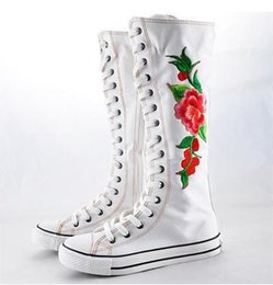 $enCountryForm.capitalKeyWord Canada - Black White Embroidery Flower Canvas Knee High Lace Up Zip Flat Sneakers Shoes