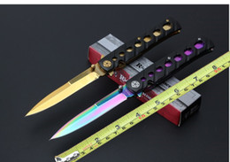 $enCountryForm.capitalKeyWord NZ - Cold Steel 26S sword rain folding knife rainbow color gold excellent camping pocket knife blade strong blade for free shipping
