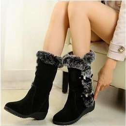 Discount borders australia High Quality Shoes Woman Warm Mid Calf Boots Ladies Not Stinky Feet Snow Boots Woman Plush Insole Winter Boots botas ug