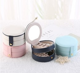 Discount korean mirror box - Jewelry Storage Box Earring Display Organizer With Mirror Korean Rings Necklace Storage Case Creative PU Leather Bracele