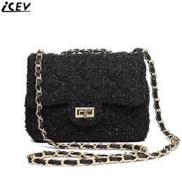 $enCountryForm.capitalKeyWord Canada - ICEV Top Handle Bags For Women Shoulder Bag Wool Small Chain Messenger Bag Ladies Black Day Clutches Famous Brand Bolsos Mujer