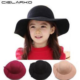 CloChe hat Children online shopping - Cielarko New Style Soft Child Sun Caps Vintage Wide Brim Wool Felt Bowler Fedora Hat Floppy Cloche Girl kids Sunhat for year