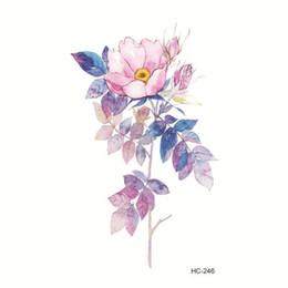 8f6166796 Water Transfer Tattoo cute pink flower leaf tattoo body art Waterproof Temporary  fake for man woman kid 10.5*6cm