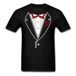 Wholesale tuxedo tee shirts online – design Cotton Casual Shirt White Top Short Sleeve Printed Crew Neck Tuxedo With Red Bow Tie Tee For Men