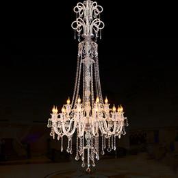 Hotel Lobby Chandeliers NZ - large stair long hotel luxury crystal chandelier modern long K9 Lobby hotel lustres de cristal candle light pendant chandelier fixture