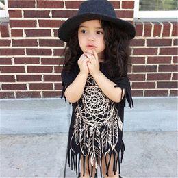 $enCountryForm.capitalKeyWord Canada - Matching Mother daughter dresses INS 2018 Tassels dress Family Matching Outfits Short Sleeve Mother & Kids Children dress clothing Irregular