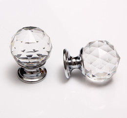 Superior Discount Glass Dresser Knobs (136pcs Lot) 30MM Glass Crystal Cabinet Knobs  Ball Shape Wardrobe