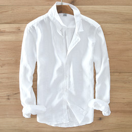 Discount mens white linen - Men's 100% pure linen long-sleeved shirt men brand clothing men shirt S-3XL 5 colors solid white shirts camisa shir