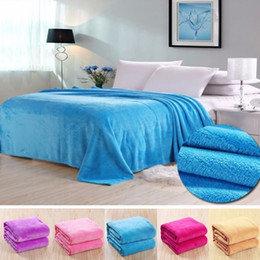 $enCountryForm.capitalKeyWord NZ - High Quality Home Textile Solid Color Soft Throw Blanket Warm Coral Blankets Travel office Flannel Sofa Warm Bed-sheet