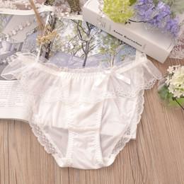 b43cb13f6 2122 Atacado 3 pcs das mulheres das senhoras sexy leite calcinha de seda baixo  crescimento rendas biquíni cueca linda cueca