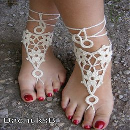 $enCountryForm.capitalKeyWord Australia - Hand crocheted sexy barefoot , lace sandals in White color, Gypsy Bridal Foot, made from pure cotton yarn..