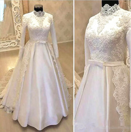 Design long Dress muslim online shopping - High Neck Long Sleeve Muslim Wedding Dresses Bow Belt Appliques Lace Satin A Line Modest Design Bridal Gowns Custom Made