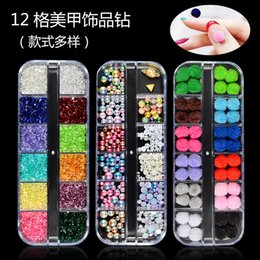 Wholesale 12 grids mixed color flatback crystal nail art rhinestones colorful transparent pearl crystal beads rhinestones decoration MZ046