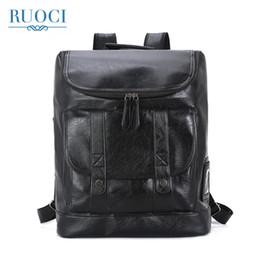 7196194d44f1 ROUCI Марка сплошной черный мужские водонепроницаемый 15,6-дюймовый ноутбук рюкзак  большой емкости прохладный черный кожаный мужчины рюкзак школьный рюкзак