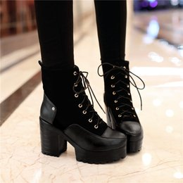 $enCountryForm.capitalKeyWord Canada - YMECHIC 2018 Vintage Ladies Gothic Street Lacing Block High Heels Shoes Womens Winter Autumn Punk Rock Ankle Motorcycle Boots
