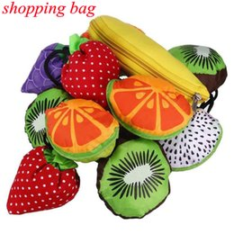 Foldable Flats wholesale online shopping - Foldable Reusable Shopping Bags Fruits Tote Eco Storage Grocery bags Shopping Tote Drawstring Handbag FFA674