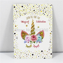 Free Shipping 24pcs Lot Pretty Unicorn Handmade Wedding Party Invitation Cards With Envelope Kid Birthday Greeting Card