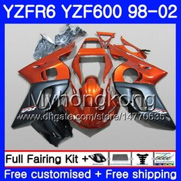 Yamaha Yzf r6 99 online shopping - Body For YAMAHA YZF R6 YZF600 YZFR6 HM YZF YZF R600 YZF R6 Orange black stock Fairings