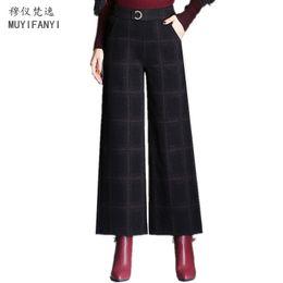 40708bcf49e 2018 Spring New Fashion Women Casual Pants Winter Wool Trousers Elegant Plaid  High Waist Wide Leg Pants Plus Size
