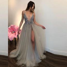 Wholesale Muslim Prom Dresses A line Deep V neck Slit Sexy Beaded Formal Islamic Dubai Kaftan Saudi Arabic Long Evening Gown