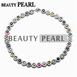 Multicolor Freshwater Pearl Necklace Black Hematite Beaded Chokers 18 Inch with Good Quality Smooth Round Magnetic Clasp on Sale