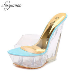 9381f8c01d70 Women Shoes Special Crystal Wedges Female Waterproof Anti-skid Slippers  Summer Thick Sexy High-heeled 14cm Sandals All-match